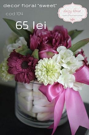 104  decor floral cu dulciuri