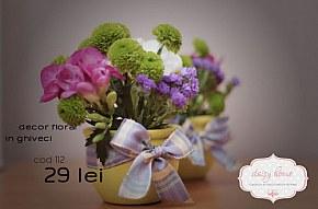 112 decor cu flori naturale in ghiveci micute