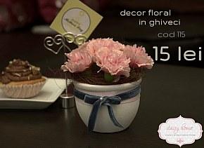 115 decor ghiveci mic cu crizanteme roz