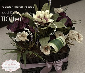 121 decor floral in cos ratan negru