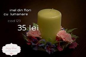 123 inel din flori cu lumanare