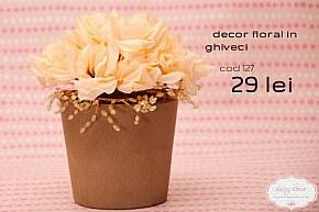 127 decor in ghiveci cu trandafiri pastelati