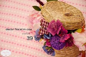 128 decor in cos cu capac, flori roz si mov si accesorii