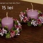 set lumanari mov cu inel din flori
