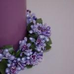 lumanare cu inel din flori