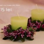 set de lumanari verzi cu inel din flori